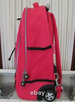 Kipling Sausalito Rolling Wheeled Backpack Luggage Carry on Tote Bag Pink NWT