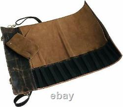Leather Knife Roll Storage Bag Kitchen Travel Friendly Chef Knife Case Roll