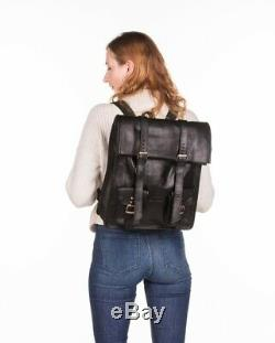 Lederrucksack Vintage Herren Damen Unisex Schwarz Rucksack Echtleder roll Top