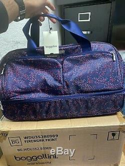 Luxury Baggallini Rolling Carry-On Duffle Bag Wheeled Luggage Navy 21