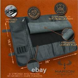 MARION -LE MINUIT Genuine Calf Top Grain Leather Handcrafted Chef Knife Roll Bag