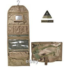 Mens Army Combat Military Hanging Wash Shave Toilet Travel Bag Kit Roll Multicam