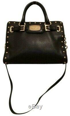 Michael Kors Hamilton Black Leather Rock & Roll Gold Stud Satchel Tote Bag Nwt