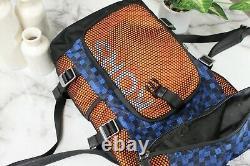 Michael Kors Kent Large Nylon Mesh Roll Top Orange/Blue Geometric Backpack Bag