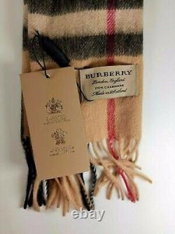 NEW BURBERRY Cashmere Scarf Check With Roll Tube Box Gift Bag 100% Authentic