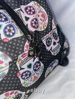 NEW! Betsey Johnson Sugar Skull Party 22 Rolling Duffel Luggage Weekender Bag