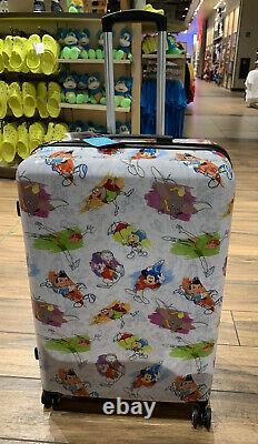 NEW Disney Parks Ink & Paint LARGE Rolling Luggage Bag Combo Lock Hard Suitcase