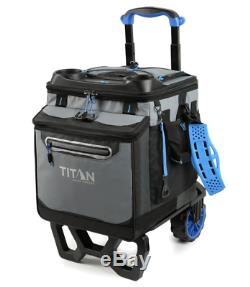 NEW Titan 22.5 Litre 60 Can Rolling Cooler with All Terrain Cart Ice Bag Food