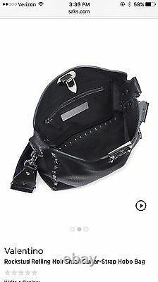 NEW Valentino Rolling Rockstud Noir Small Guitar Strap Hobo Bag