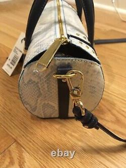 NWT Brahmin Claire Sky Berwick Leather Roll Barrel Bag w Studs & Tassels $355