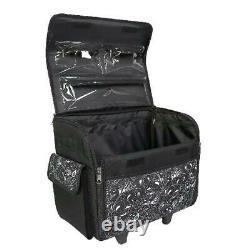 New Black Floral Rolling Tote Sewing Machine Wheeled Carrier Storage Bag Case
