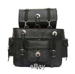 New Motorcycle PU Leather Saddle Bag Sissy Bar Tool Roll Box + Inner Liner bag