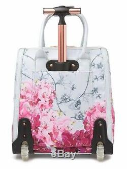 New Ted Baker Clarra Babylon Floral Two Wheel Travel Carry On Suitcase Bag Grey
