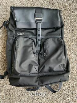 New Tumi Alpha Bravo London Roll-Top Backpack Black Nylon