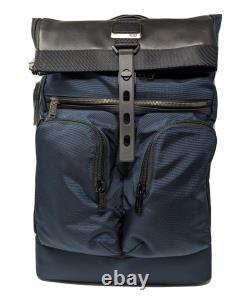 New Tumi Alpha Bravo London Roll-Top Backpack Navy Blue Nylon 232388NVY