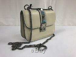 New Valentino Lock Rockstud Rolling Ivory Textured Leather Shoulder Bag $2245.00