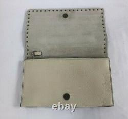 New Valentino Rockstud Star Rolling Ivory Pebbled Leather Clutch Bag $2595.00