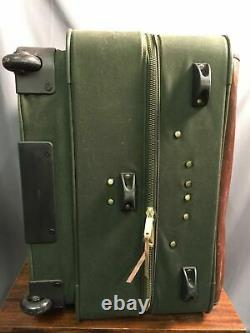 Orvis Battenkill Super Magnum Roll Case Leather Canvas Green Garment Bag Luggage