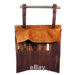 Personalized Roll Knife Genuine Leather Bag Chef Case Storage Handles