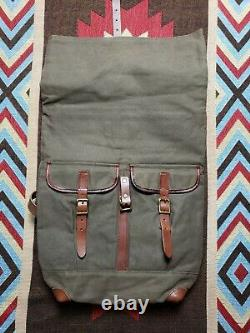 Polo Ralph Lauren Canvas Leather Military Roll Top Backpack Rucksack Bag RRL
