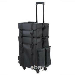 Portable 2 in 1 Rolling Makeup Case Box Cosmetic Luggage Trolley Bag Organizer