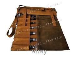 Professional Lightweight Genuine Leather 10 Pockets Chef Knife Bag/Roll #K02-BU