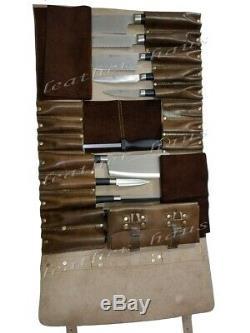 Professional Lightweight Genuine Leather 16 Pockets Chef Knife Bag / Knife Roll