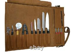 Professional Premium Lightweight Genuine Leather 13 Slots Chef Knife Bag/Roll K5