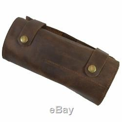 Real Leather Tool Wrench Roll Up Handmade Bag Hand Tool Organizer Pouch Vintage