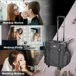 Rolling Makeup Soft Case Artist Salon Box Trolley Cosmetic Organizer Train Bag