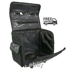 Rolling Sewing Machine Tote Black & White Storage Bag Organizer Transport