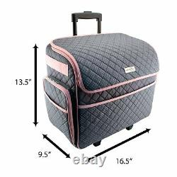 Rolling Sewing Tote Machine Case Wheels Storage Compartments Travel Bag Gray
