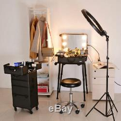 Rolling Studio Makeup Train Case Lockable LED Bulb Light Mirror Cosmetic Salon