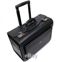 Rolling briefcase for adults men women lawyer work with wheels 17 inch laptop