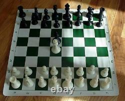 Set 4 Heavy Chess Pieces Vinyl Roll Up Board Bag Dgt 3000 Clock Timer