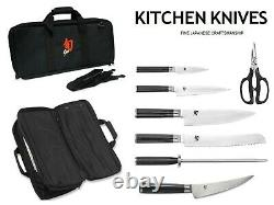 Shun Classic Deluxe 8 piece Piece Student Knife Roll Set, Larger Bag included