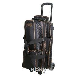 Storm Rolling Thunder Checkered Black/Gold 3 Ball Roller Bowling Bag