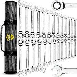 ToolGuards 26 Pieces Ratcheting Wrench Set with Roll Bag