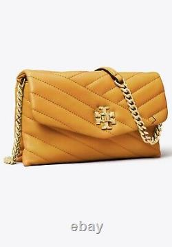 Tory Burch Kira Chevron Chain Wallet Crossbody Bag Color Squash/rolled Brass
