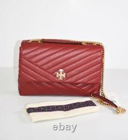 Tory Burch Kira Chevron REDSTONE/Rolled Brass Convertible Shoulder Bag $548