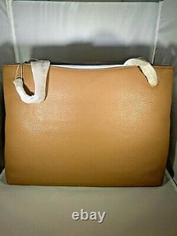 Tory Burch NWT Lg Brittan Triple Compartment Tote Bag/Purse Bark and Rolled Gold