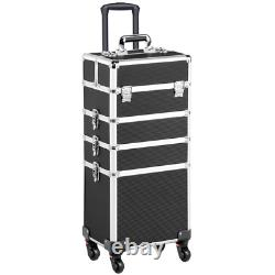 Travel Makeup Train Case Cosmetic Bag Professional Rolling Vanity Organizer Box