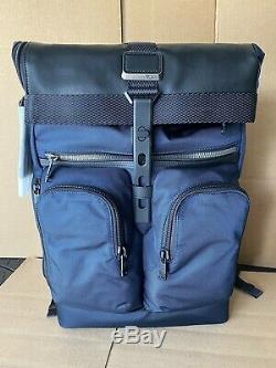 Tumi Alpha Bravo London Roll Top Laptop Business Backpack 232388 Navy New