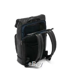 Tumi Alpha Bravo London Roll Top backpack Leather Distressed Black