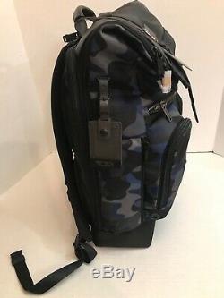 Tumi Bravo London Roll-Top Backpack Black/Blue Camo NWT $450
