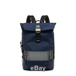Tumi Harrison Oak Roll Top Backpack Business Laptop Bag Navy Reflective Minimal