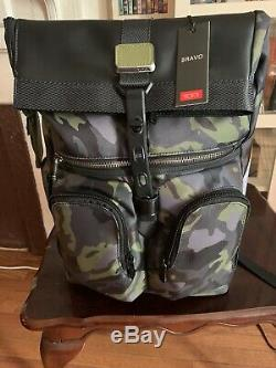 Tumi Men's Alpha Bravo London Roll Top Camo Backpack Green Gray Combo