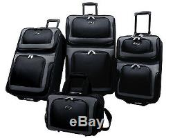 US Traveler Black New Yorker 4-Piece Expandable Rolling Luggage Suitcase Bag Set