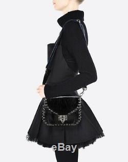 VALENTINO Noir Black Rockstud Rolling Guitar Strap Crossbody Bag MSRP $2600