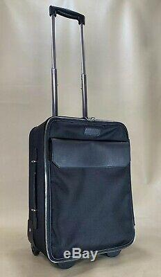 VERSACE COLLECTION Black Canvas with Leather Trolley Carry On Suitcase Bag $1100